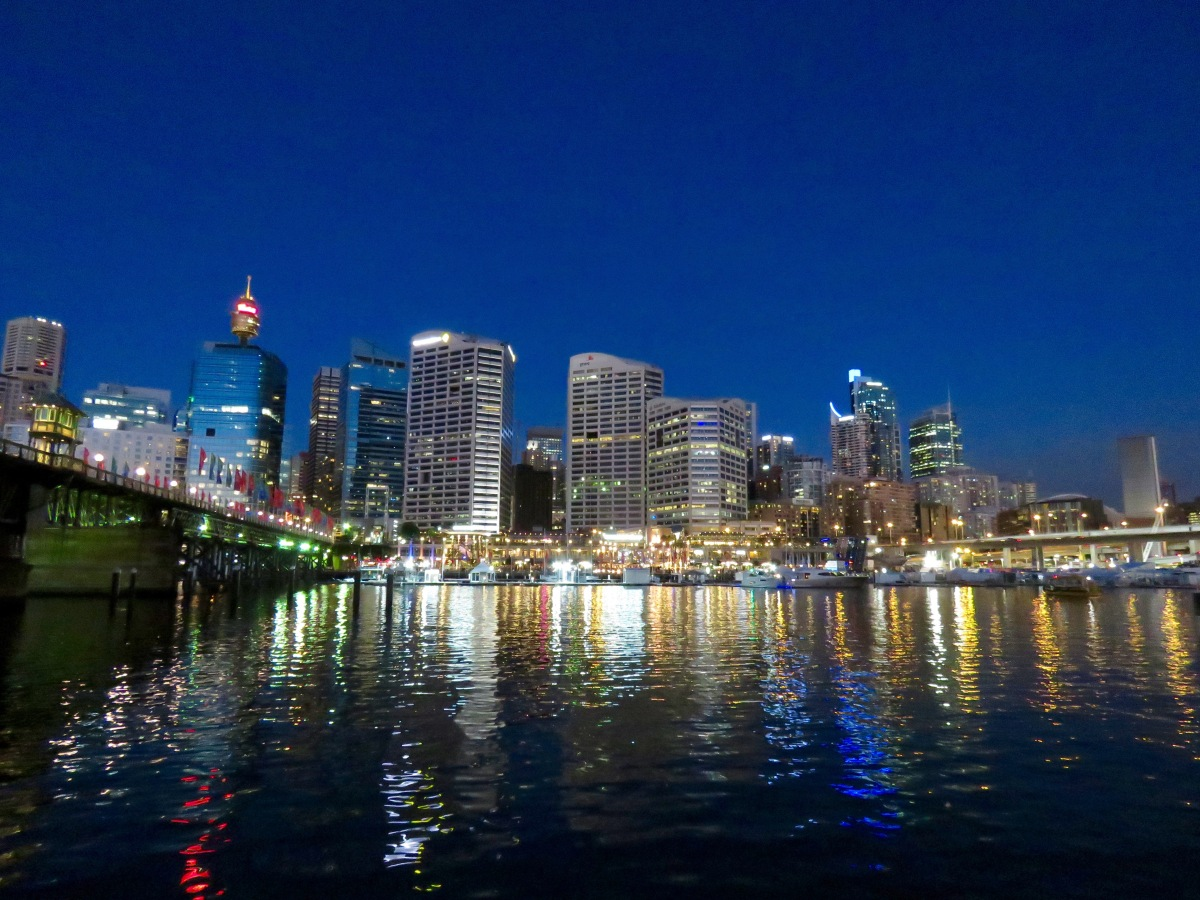 City lights, bridge, night, Darling Harbour